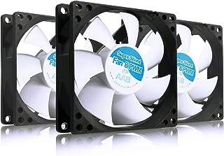 AABCOOLING Super Silent Fan 8 PWM - Un Silencioso y Muy Efectivo Ventilador 80mm para Procesador, Ventilador PC, Fan Cooler 8cm, Ventilador 12V, 30-56m3/h, 600-2000 RPM - 3 Piezas 9,5~17,9 dB(A)