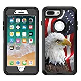Teleskins Protective Designer Vinyl Skin Decals/Stickers Compatible with Otterbox Defender iPhone 8 Plus/iPhone 7 Plus Case - Bald Eagle American Flag Design Patterns - only Skins and not Case