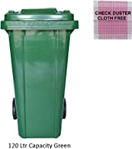 120 Ltr Wheel Garbage Dustbin With Lid And Strong Wheels - Green WITH CHECK DUSTER CLOTH FREE