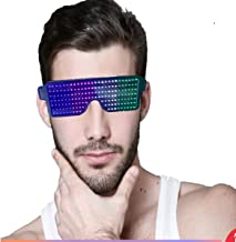Customizable LED Glasses Light Up USB Rechargeable 8 Patterns LED Luminous Glasses for Raves, Parties Halloween Nightclub ...