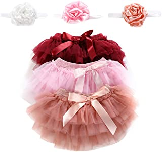 Newborn Girls 3 Layers Ruffles Tulle Skirt with Bow Baby Bloomer Diaper Cover Photography Prop Tutu and Headband Set