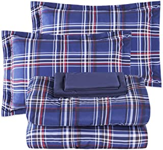 EMME 7-Piece Bed-in-A-Bag Bedding Comforter Set Luxurious Brushed Microfiber Goose Down Alternative Comforter Soft and Comfortable Machine Washable (Full/Queen, Blue Plaid)