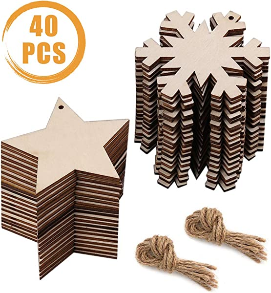 Quacoww 40 Pieces Wood Craft Hanging Ornaments 2 Styles Snowflakes With Stars For Christmas Scenes And Party Decoration