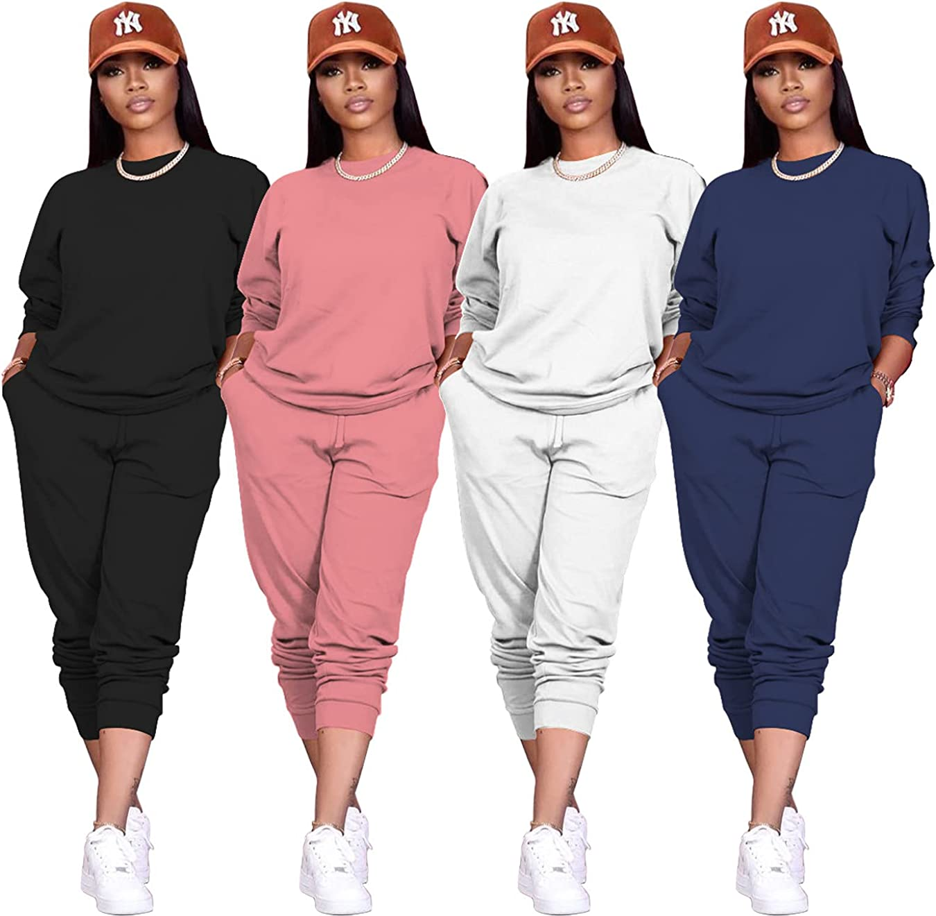 Spring and autumn women's cute sports and leisure suits sweater capless long-sleeved pencil pants solid color two-piece suit