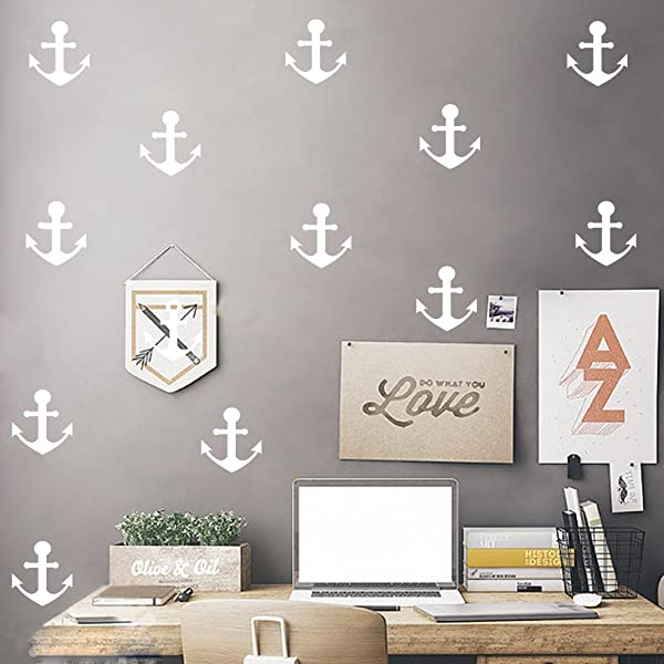 HACASO 36 PCS 2 5 By 2 3 Inches Anchors Wall Decal Sticker For Kids Bedroom Decor DIY Home Decor Vinyl Anchors Mural Baby Nursery Room Wallpaper White