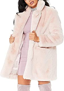 988a9fed731 Womens Long Sleeve Winter Warm Lapel Fox Faux Fur Coat Jacket Overcoat  Outwear with Pockets