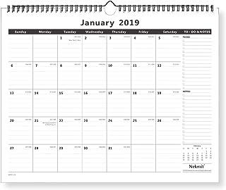"Nekmit Monthly Wall Calendar, January 2019 - December 2019, 15"" x 12"", Wirebound, Black"
