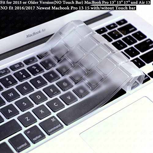 DHZ Ultra Thin Transparent Keyboard Cover Soft TPU Skin for Only 2015 or Older Version MacBook Pro 13' 15' 17' and MacBook Air 13 (No Fit 2019-2016 New MacBook Air 13 Pro 13 15 Touch Bar) (Clear TPU)