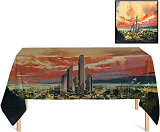 SATVSHOP Rectangular Table Cloth,/70x156 Rectangular,Cityscape Modern City by The Harbor with Sailing Yacht Skyscrapers Artsy Painting Style for Wedding/Banquet/Restaurant.