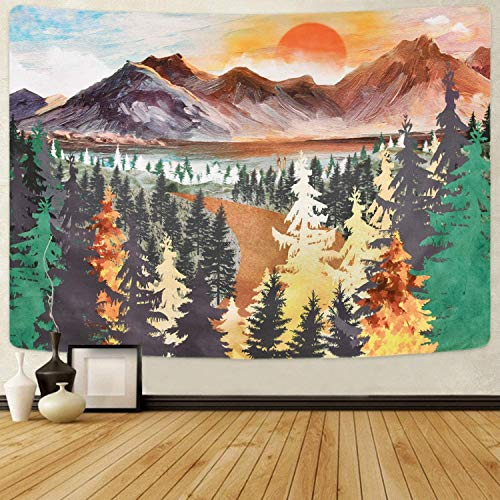 Elloevn Wandteppiche, Psychedelic Landschaften Wandtücher mit Baum Berg, Geschmacksvolle Wandkunst Wandbehang Wanddeko für Schlafzimmer Wohnzimmer 150X130 cm