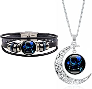 YANCHUN 2 Pcs Fashion 12 Zodiac Constellation Necklace Astrology Galaxy & Crescent Moon Glass Necklace Leather Constellati...