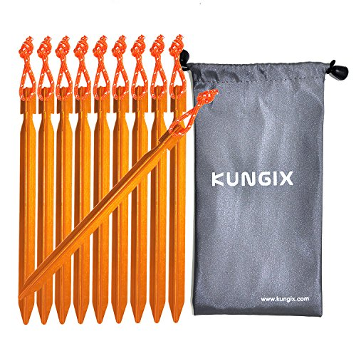 Kungix Tent Stakes Pegs 7' Aluminium Alloy with Reflective Rope 10-Piece (Golden)