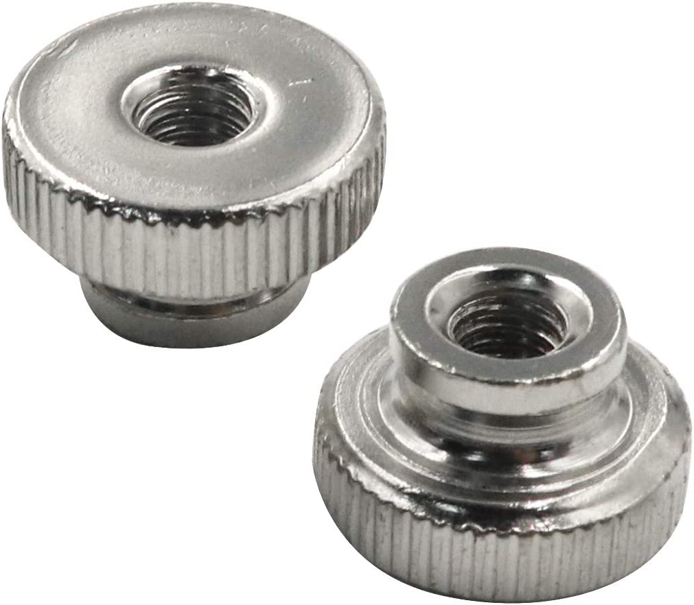 Yoohey Knurled Thumb M10 Knurled Nut with Collar Nickel Plating Round Thumb Nut,Pack of 3