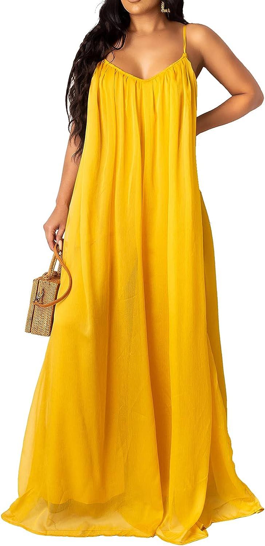 LightlyKiss Women's Sexy Summer Chiffon Evening Dresses Backless Long Maxi Flowy Sundress