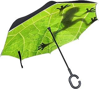 TropicalLife Double Layer Inverted Umbrella Amazon Rainforests Green Tree Frog Reverse Umbrella