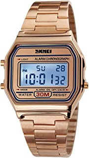Gosasa Classic Womens Rose Gold Stainless Steel Digital Display Watch
