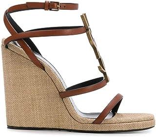 Luxury Fashion | Saint Laurent Women 606766DWETT7660 Brown Leather Wedges | Spring-summer 20