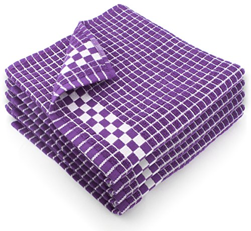 Fecido Classic Dark Kitchen Dish Towels with Hanging Loop - Heavy Duty Absorbent Dish Clothes - European Made 100% Cotton Tea Towels - Set of 4, Purple