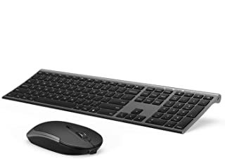 Wireless Keyboard and Mouse, Vssoplor 2.4GHz Rechargeable Compact Quiet Full-Size Keyboard and Mouse Combo with Nano USB R...