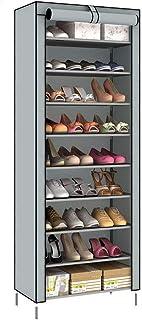 Closetique シューズラック カバー付き 組み立て式 段差調節可能 靴入れ 玄関収納 小物収納 靴箱 靴棚 薄型 軽量 省スペース 27足収納可 大容量 9段 奥行30x高160x幅60cm