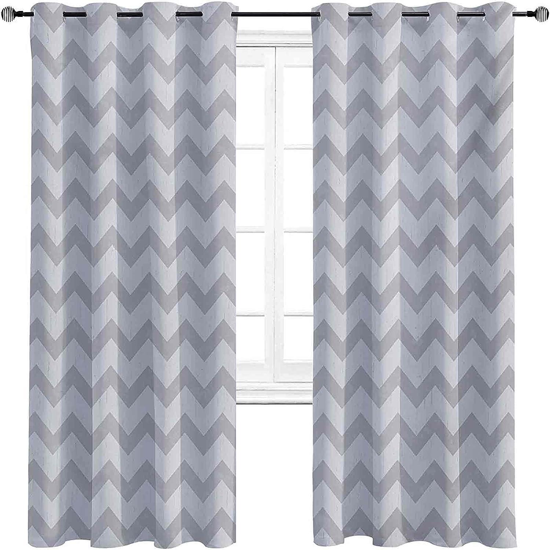 Heat Insulation Grey and White Seattle Mall G 5% OFF Curtain Zigzag Chevron Pattern