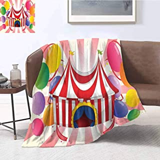 Luoiaax Circus Decor Children's Blanket Cartoon of Circus Tent with Colorful Balloons Striped Background Lightweight Soft Warm and Comfortable W55 x L55 Inch