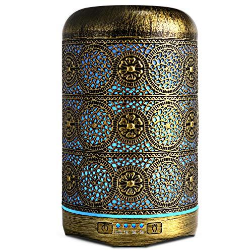 Aromaterapia Difusor, Máquina de Aromaterapia hierro forjado Humidificador de aire 250Ml, Perfume de aceite difusor con 4 temporizadores, Humidificador de difusor de aceite, Regalo de damas-Bronze