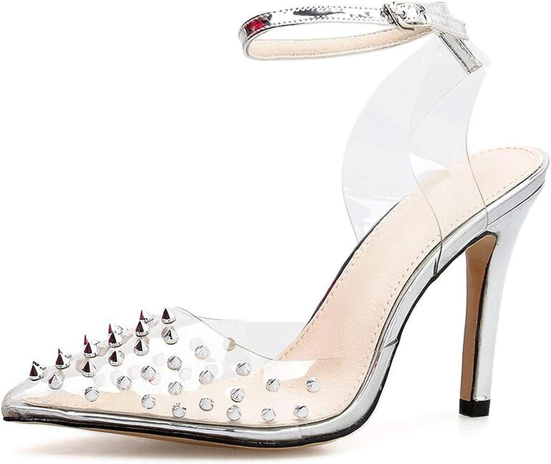 Summer Women's shoes High Heels Sandals Summer Rivet Pointed Toe Thin Heels Pumps,Silvery,6
