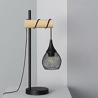 LEDKIA LIGHTING Lampe à Poser Monah 500x140x210 mm Noir E27 Aluminium - Bois pour Décoration Salon, Chambre, Cuisine
