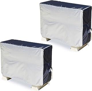アストロ エアコン室外機カバー 2枚組 シルバー×ブラック 撥水加工 ゴム入り 配管スリット 風飛び防止ヒモ付き 194-06 大