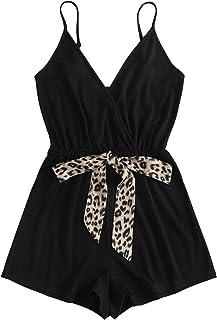 Verdusa Women's Leopard Print Wrap Spaghetti Strap Romper Cami Jumpsuit
