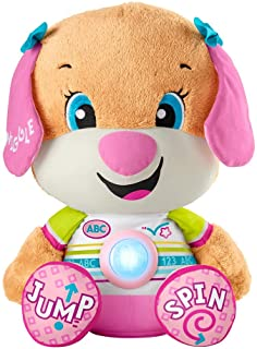 Fisher-Price Laugh & Learn So Big Sis - large musical plush puppy toy with learning content for infants and toddlers HCJ37
