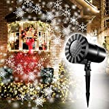 Moving Snowflakes Projector Light, White Christmas Projection Spotlight, LED Dynamic Snowflake Landscape Projector Light for Indoor/Outdoor Decor, Xmas Halloween Decoration, Wall Light, Party Light