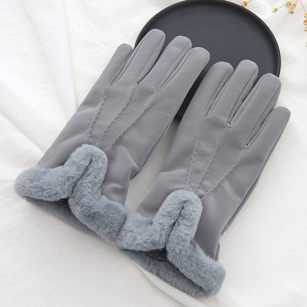 Jamkf Warm Gloves Female Winter Plus Velvet Thick Windproof Cold Touch Screen Riding Driving Gloves