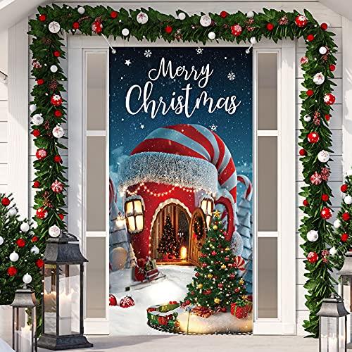 Decoración de Navidad Cubierta de Puerta de Merry Christmas Bandera Telón de Fondo de Casa Copa de Dulces Navideños Cubierta dePuerta Colgante de Navidad Foto Props, 70,9 x 35,4 Pulgadas 🔥