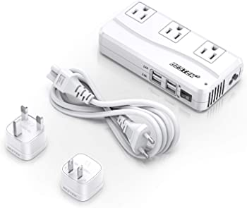 Bestek 220V to 110V Converter Travel Adapter with 6A 4-Port USB Charging