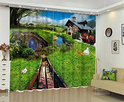 Vorhänge 3D Blackout, Rasen Print Thicked Fenster, Schlafzimmer Wohnzimmer Dekoration, Grün, Wide 3.6X high 2.7