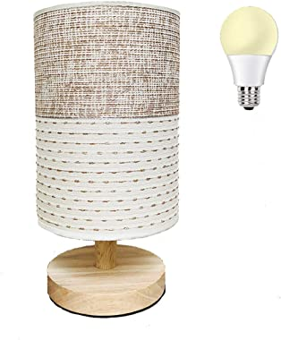 AFORTLO Table Desk Lamp, Small Fabric Nightstand Night Light Solid Wood Base Lamp for Bedroom,Living Room,End Table or Office