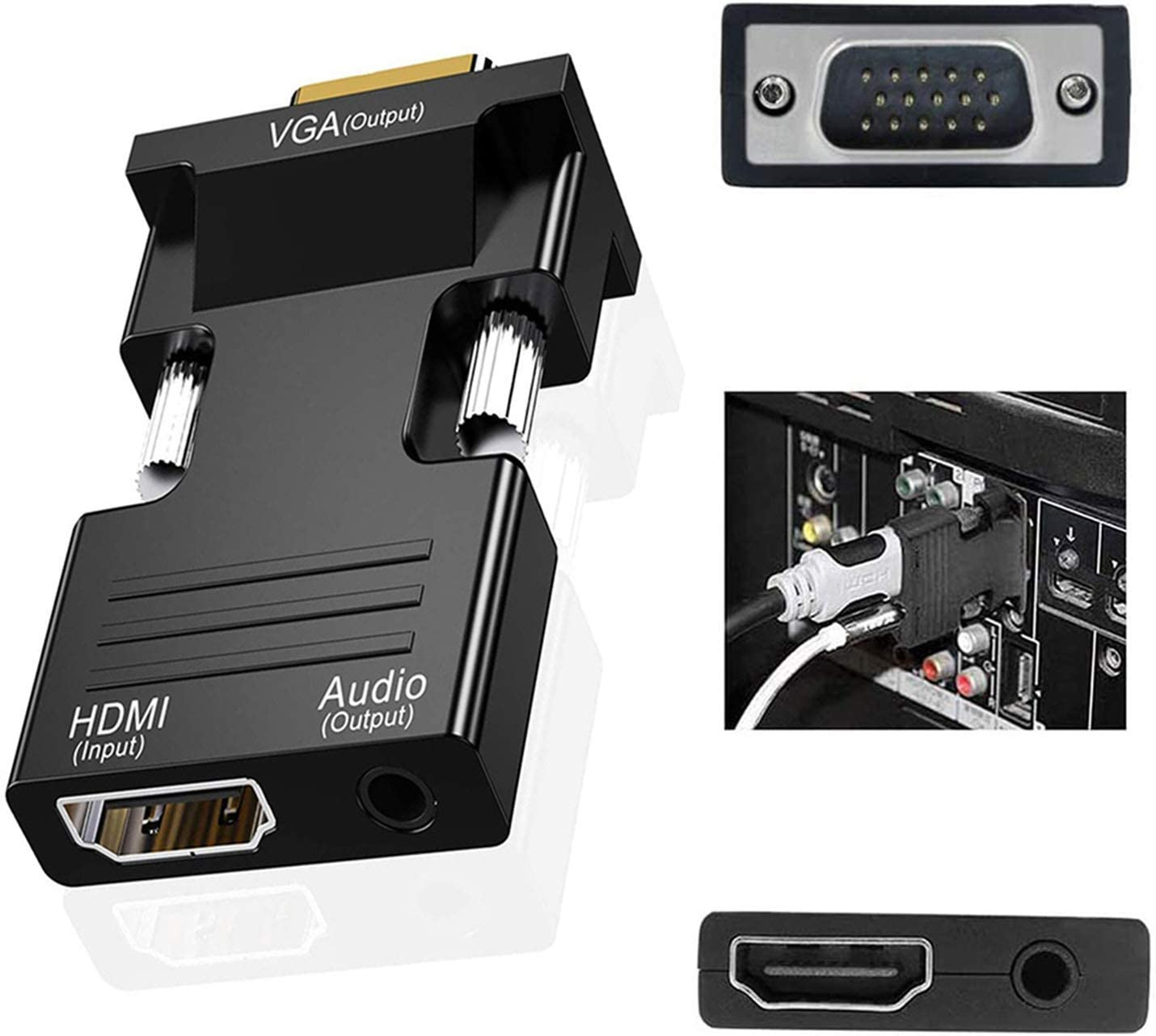 Projector YYBarbAnn HDMI to VGA Adapter Black Audio Output Cable Computer Set-top Box Converter Connector Adapter for Laptop PC Roku HDTV Xbox Monitor Chromebook