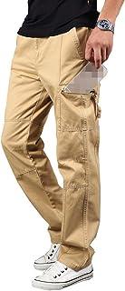 Elonglin Men's Retro Cargo Trousers Cotton Casual Pants Elastic Waist Military Army Combat Work Pants