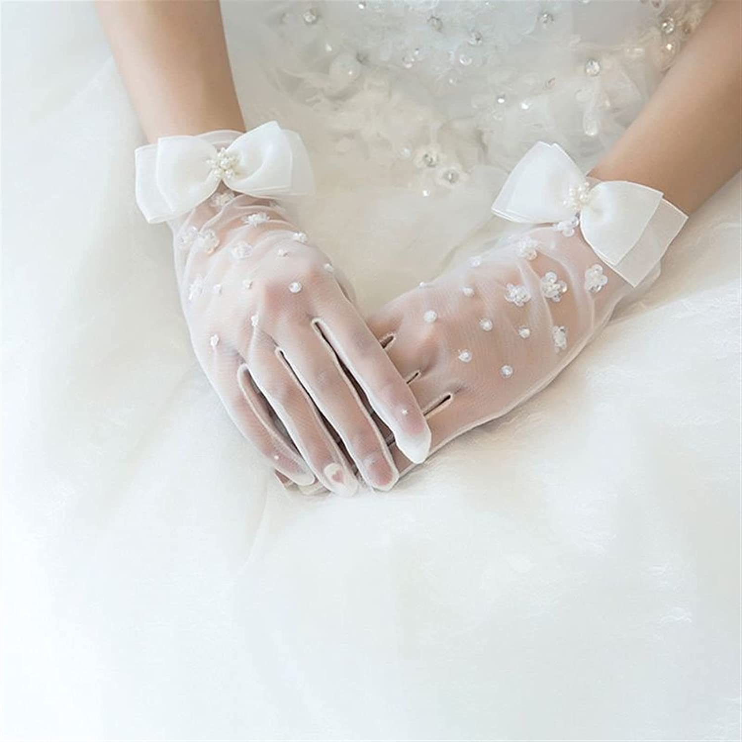lkpoijuh Simple Short Spring Summer Mesh Thin Section Gloves Bow Glove (Color : White)