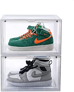 Clear Shoes Boxes Magnetic Side Open Transparent Sneaker Storage Shoes Box Stackable Foldable Storage Shoe Boxes -One Box