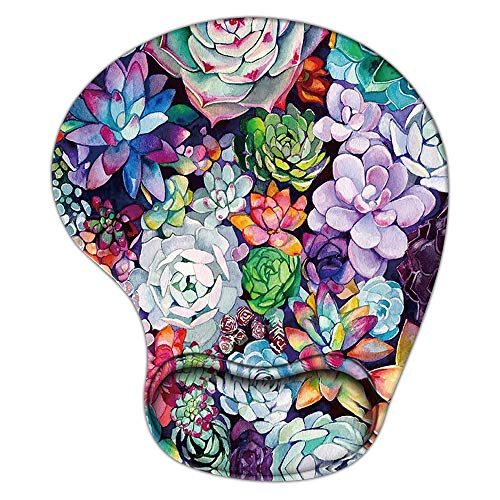 Gaming Mouse Pad with Wrist Support, Ergonomic Mousepad Non-Slip Soft Sensitive Material, Cute Mouse Pads for Wireless Mouse Plant Succulents Floral as Home Office Desktop Accessories or Ideal Gift