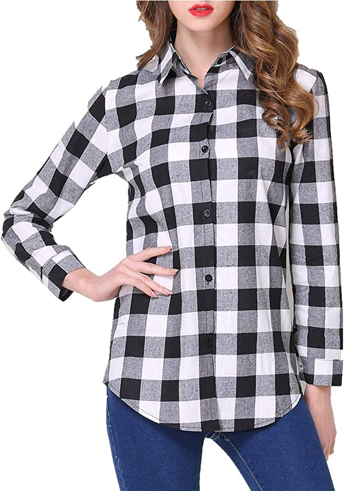 Kyerivs Women's Check Plaid Shirts V Neck Roll Up/Long Sleeve Casual Blouse Tops