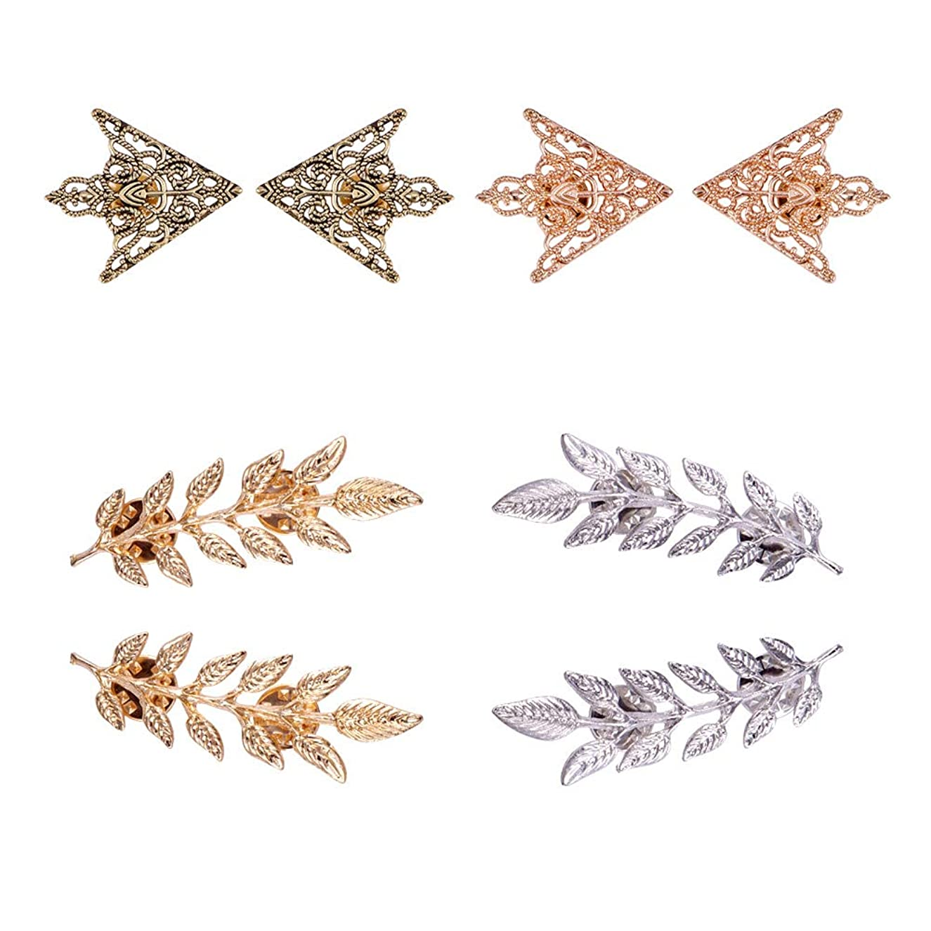 PH PandaHall 8pcs(4 Pairs) 4 Colors Triangle/Leaf Shape Alloy Brooches Hollow Pattern Shirt Collar Brooch Unisex, Antique Bronze/Golden/Silver/Rose Gold
