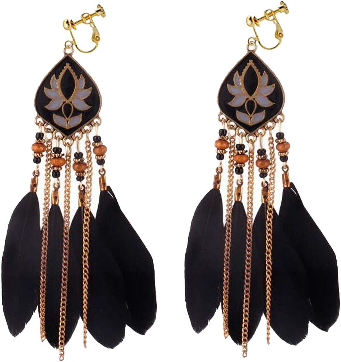 Retro Clip on Earrings Bohemian Earrings for Women Girls Enamel Lotus Dangle Drop Long Feather Tassel Vintage Statement