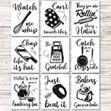 9 Pieces Kitchen Art Prints Kitchenware with Sayings Wall Art Posters Unframed Kitchen Posters Decoration with 40 Pieces Glue Point Dots for Kitchen Dining Baking Room Restaurant