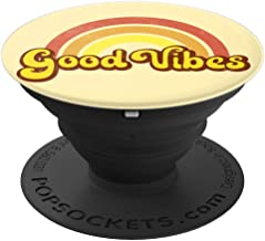 Retro, Hippie, Hippy, Rainbow Yellow GOOD VIBES - PopSockets Grip and Stand for Phones and Tablets