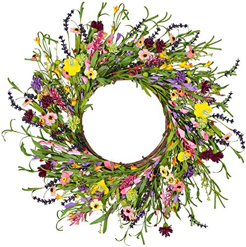Artificial Lavender Daisy Flower Door Wreath with Springtime Faux Flowers and Berris Front Door Wreath Decor