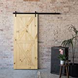 BELLEZE 36' x 84' Double X Sliding Barn Door Unfinished Solid Knotty Pine Wood Single Door Easy Assemble, Nature